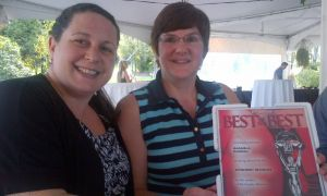 Pamela Murphy and Jane Bryce with Magnolia's 'Best of the Best' award